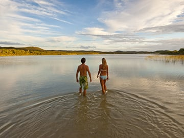 Couple walk into Blue Lagoon
